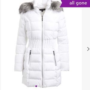 NEW LAUNDRY BY SHELLY SEGAL FAUX FUR PUFFER COAT S